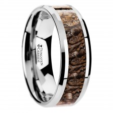 ORDOVICIAN Dinosaur Bone Inlaid Tungsten Carbide Beveled Edged Ring - 4mm & 8mm