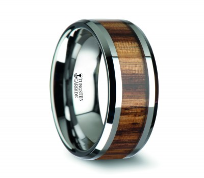 PALMALETTO Tungsten Carbide Ring with Beveled Edges and Real Zebra Wood Inlay - 4mm - 10mm