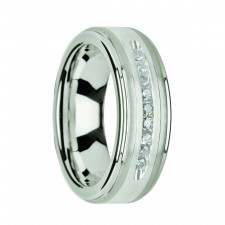 HARPER Tungsten Wedding Band with Raised Center & Brushed Silver Inlay and 9 White Diamonds - 8mm