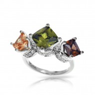 Destiny Collection In Sterling Silver Cz.Cham Cz.Green/Cz.Coffee Ring
