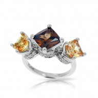 Destiny Collection In Sterling Silver Cz.Cham Cz.Coffee/Cz.Yellow Ring