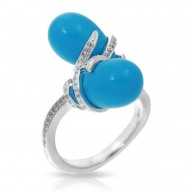Eden Collection In Sterling Silver /Syn. Turquoise/Cz.White Ring