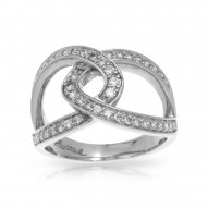 Duet Collection In Sterling Silver White/Cz Ring