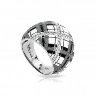 Tartan Collection In Sterling Silver White /Gray/Blken/Cz Ring