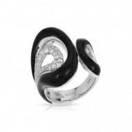 Vapeur Collection In Sterling Silver Blacken/Cz.White Ring