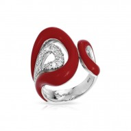 Vapeur Collection In Sterling Silver Reden/Cz.White Ring