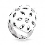 Charlotte Collection In Sterling Silver White En/Cz.White Ring