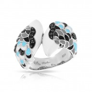 Love In Plume Collection In Sterling Silver White /Blueen/Cz.Black Ring