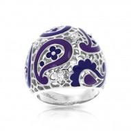 Koyari Collection In Sterling Silver Purple &Blue/En/White /Cz Ring