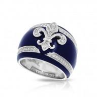 Fleur De Lis Collection In Sterling Silver Blue/En/White /Cz Ring