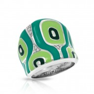 Moda Collection In Sterling Silver Green/En/White /Cz Ring
