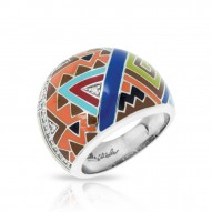 Sedona Collection In Sterling Silver Org_Brw/En/White /Cz Ring