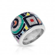 Geometrica Collection In Sterling Silver Multi/En/White /Cz Ring