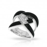 Amazon Collection In Sterling Silver Blk/En/White /Cz Ring