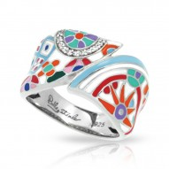 Pashmina Collection In Sterling Silver Ena.Mult/Cz.White Ring