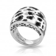 Leopard Collection In Sterling Silver White /Blk_White /Cz Ring