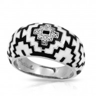 Aztec Collection In Sterling Silver Blk/White /En_White /Cz Ring