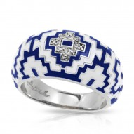 Aztec Collection In Sterling Silver Blue/White _White /Cz Ring