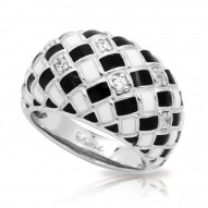 Harlequin Collection In Sterling Silver En_Blk/White _Cz Ring