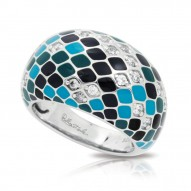 Snakeskin Collection In Ss En_Teal/Cz_White Ring