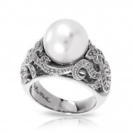 Fiona Collection In Sterling Silver Wht/Pearl/Wht/Cz Ring