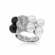 Prestige Collection In Sterling Silver Wht/ Pearl/Onyx/Wht/Cz Ring