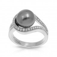 Claire Collection In Sterling Silver Grey/Pearl/Wht/Cz Ring