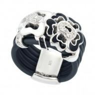 Fiori White/Charcoal Ring