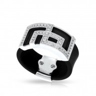 Piazza Collection In Sterling Silver Blkrub/Cz.White Ring