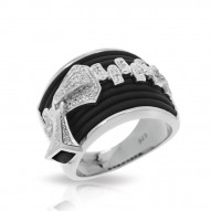 Roxie Collection In Sterling Silver Blk/Ru/White /Cz Ring