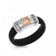 Celine Collection In Sterling Silver Blk/Ru/Champ/Cz Ring