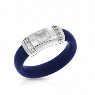 Celine Collection In Sterling Silver /Blue/Ru/ Milkstone/Cz Ring