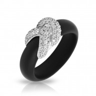 Ariadne Collection In Sterling Silver Rub.Blk/Cz.White Ring
