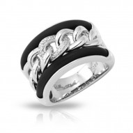 Liaison Collection In Sterling Silver Rub.Blk/Cz.White Ring