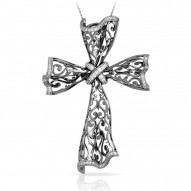 Antoinette Collection In Sterling Silver Cz.White Pendant