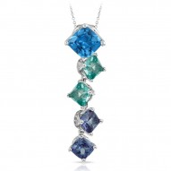 Destiny Collection In Ss Cz.Blue/Cz.Green Pendant