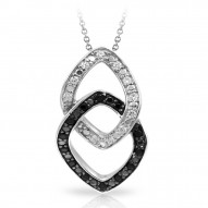 Duet Collection In Sterling Silver Whtblk/Cz Pendant
