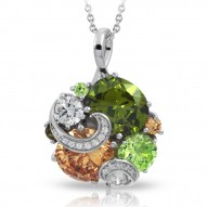 Andromeda Collection In Sterling Silver Cz.Fall Pendant
