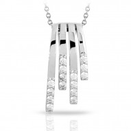 Fontaine Collection In Sterling Silver Cz.White Pendant