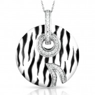 Tigris Collection In Sterling Silver Black/Whiteen/Cz Pendant