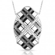 Tartan Collection In Sterling Silver White /Gray/Blken/Cz Pendant