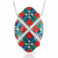 Tartan Collection In Sterling Silver Red/Blue/Grnten/Cz Pendant