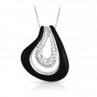 Vapeur Collection In Sterling Silver Blacken/Cz.White Pendant