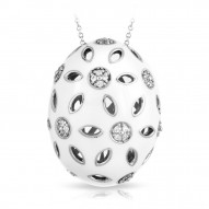 Charlotte Collection In Sterling Silver White En/Cz.White Pendant