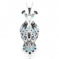 Love In Plume Collection In Sterling Silver White /Blueen/Cz.Black Pendant
