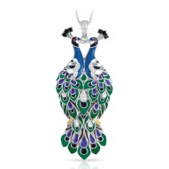 Love In Plume Collection In Sterling Silver Tur/Blueen/Cz.Black Pendant