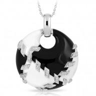 Sutura Collection In Sterling Silver Blk&White /En/White /Cz Pendant