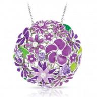 Jardin Collection In Sterling Silver Purple/En/ White/Cz Pendant