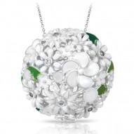 Jardin Collection In Sterling Silver White/En/ White/Cz Pendant
