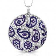 Koyari Collection In Sterling Silver Purple &Blue/En/White /Cz Pendant